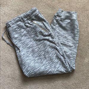 New York & Company Gray marled zip jogger XL